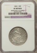 Seated Half Dollars, 1843 50C -- Improperly Cleaned -- NGC Details. XF. NGC Census:(7/162). PCGS Population (27/198). Mintage: 3,844,000. Numis...