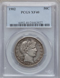 Barber Half Dollars: , 1902 50C XF40 PCGS. PCGS Population (29/288). NGC Census: (9/184).Mintage: 4,922,777. Numismedia Wsl. Price for problem fr...