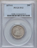Twenty Cent Pieces: , 1875-S 20C Fine 12 PCGS. PCGS Population (58/3044). NGC Census:(56/2384). Mintage: 1,155,000. Numismedia Wsl. Price for pr...