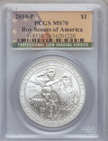 Modern Issues, 2010-P $1 Boy Scouts MS70 PCGS and 2010-P $1 Boy Scouts PR70 DeepCameo PCGS. ... (Total: 2 coins)