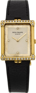 Timepieces:Wristwatch, Patek Philippe Ref. 3776 Gold & Diamond Wristwatch, circa 1977. ...