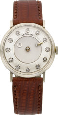Timepieces:Wristwatch, LeCoultre White Gold Diamond Dial Mystery Watch, circa 1960. ...