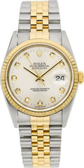 Timepieces:Wristwatch, Rolex Ref. 16233 Gent's Diamond Dial Two Tone Oyster PerpetualDatejust, circa 2002. ...