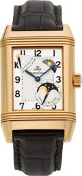 Timepieces:Wristwatch, Jaeger LeCoultre Ref. 240.2.27 Rose Gold Reverso Grande Sun &Moon Gentleman's Wristwatch. ...