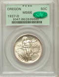 Commemorative Silver: , 1937-D 50C Oregon MS66 PCGS. CAC. PCGS Population (1154/633). NGCCensus: (901/589). Mintage: 12,008. Numismedia Wsl. Price...