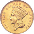 Three Dollar Gold Pieces, 1869 $3 AU58 NGC....