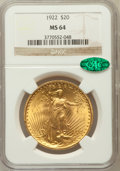 Saint-Gaudens Double Eagles: , 1922 $20 MS64 NGC. CAC. NGC Census: (7578/486). PCGS Population(7280/1247). Mintage: 1,375,500. Numismedia Wsl. Price for ...