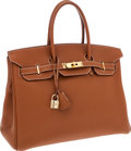 Luxury Accessories:Bags, Hermes 35cm Gold Togo Leather Birkin Bag with Gold Hardware . ...