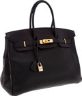Luxury Accessories:Bags, Hermes 35cm Black Swift Leather Birkin Bag with Gold Hardware. ...