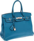 Luxury Accessories:Bags, Hermes 35cm Blue Jean Clemence Leather Birkin Bag with PalladiumHardware. ...