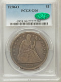Seated Dollars: , 1850-O $1 Good 6 PCGS. CAC. PCGS Population (5/161). NGC Census:(1/124). Mintage: 40,000. Numismedia Wsl. Price for proble...