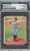 Autographs:Sports Cards, 1933 Goudey Babe Ruth #144, Signed, PSA/DNA Authentic....