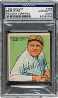 Autographs:Sports Cards, 1933 Goudey Babe Ruth #181, Signed, PSA/DNA Authentic....
