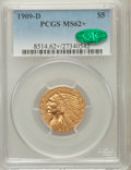Indian Half Eagles: , 1909-D $5 MS62+ PCGS. CAC. PCGS Population (9081/12379). NGCCensus: (9733/10597). Mintage: 3,423,560. Numismedia Wsl. Pric...