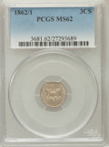 Three Cent Silver: , 1862/1 3CS MS62 PCGS. PCGS Population (27/313). NGC Census:(25/248). Mintage: 343,000. Numismedia Wsl. Price for problem f...
