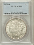 Morgan Dollars, 1921-S $1 MS64 PCGS. PCGS Population (3441/804). NGC Census:(4944/801). Mintage: 21,695,000. Numismedia Wsl. Price for pro...