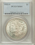 Morgan Dollars: , 1921-S $1 MS64 PCGS. PCGS Population (3448/809). NGC Census:(4944/801). Mintage: 21,695,000. Numismedia Wsl. Price for pro...
