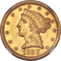 Liberty Half Eagles, 1857-C $5 -- Obverse Improperly Cleaned -- NGC Details. Unc.Variety 1....