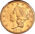 Liberty Double Eagles, 1873-S $20 Open 3 AU58 NGC. CAC....