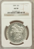 Morgan Dollars: , 1899 $1 AU58 NGC. NGC Census: (329/7580). PCGS Population(266/10105). Mintage: 330,846. Numismedia Wsl. Price for problem...