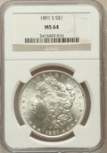 Morgan Dollars: , 1891-S $1 MS64 NGC. NGC Census: (1294/243). PCGS Population(1942/482). Mintage: 5,296,000. Numismedia Wsl. Price for probl...