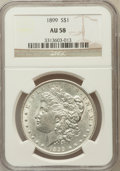 Morgan Dollars: , 1899 $1 AU58 NGC. NGC Census: (332/7600). PCGS Population(269/10128). Mintage: 330,846. Numismedia Wsl. Price for problem...