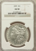 Morgan Dollars: , 1899 $1 AU58 NGC. NGC Census: (332/7600). PCGS Population(271/10145). Mintage: 330,846. Numismedia Wsl. Price for problem...