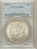 Morgan Dollars: , 1921-S $1 MS64 PCGS. PCGS Population (3430/804). NGC Census:(4942/800). Mintage: 21,695,000. Numismedia Wsl. Price for pro...