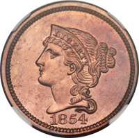 1854 P1C One Cent, Judd-161 Original, Pollock-187, R.4, PR65+ Red and Brown NGC. CAC....(PCGS# 11664)
