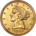 Liberty Half Eagles, 1842-D $5 Small Date AU58 NGC. Variety 8-E. ...