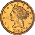 Liberty Half Eagles, 1855-C $5 AU58 PCGS. Variety 1....