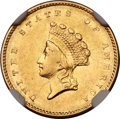 Gold Dollars, 1856-S G$1 Type Two AU55 NGC. FS-501....