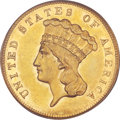 Three Dollar Gold Pieces, 1866 $3 AU58 PCGS....