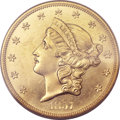 Liberty Double Eagles, 1857-S $20 MS64 PCGS. CAC. Variety 20A....