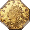 California Fractional Gold, 1876 25C Indian Octagonal 25 Cents, BG-786, Low R.6, MS65 ProoflikeNGC....
