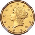Gold Dollars, 1850-C G$1 MS61 NGC. Variety 1....