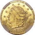 California Fractional Gold, 1873 25C Liberty Round 25 Cents, BG-817, R.3, MS67 ★ NGC....