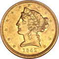 Liberty Half Eagles, 1842-D $5 Small Date AU53 NGC. Variety 8-E....
