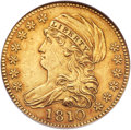 Early Half Eagles, 1810 $5 Large Date, Large 5 AU53 NGC. BD-4, R.2....