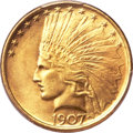 Indian Eagles, 1907 $10 No Periods MS64 PCGS. CAC....