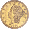 Liberty Double Eagles, 1850 $20 AU50 PCGS....