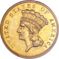 Three Dollar Gold Pieces, 1885 $3 AU55 PCGS....