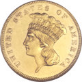 Three Dollar Gold Pieces, 1855 $3 MS64 NGC....