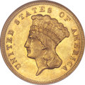 Three Dollar Gold Pieces, 1874 $3 MS62 NGC....