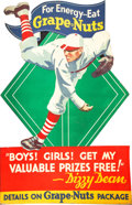 Baseball Collectibles:Others, 1930's Grape Nuts Die-Cut Large Advertising Sign Featuring DizzyDean....