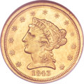 Liberty Quarter Eagles, 1843-O $2 1/2 Small Date, Crosslet 4 MS62 NGC. CAC. Variety 3....