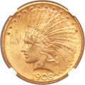 Indian Eagles, 1908-S $10 MS61 NGC. CAC....