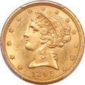 Liberty Half Eagles, 1893-CC $5 MS63 PCGS. Variety 1-A....
