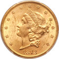 Liberty Double Eagles, 1873 $20 Open 3 MS62 PCGS. CAC....