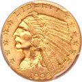 Indian Quarter Eagles, 1908 $2 1/2 MS66 PCGS....